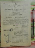 Becker En Buddingh, Arnhem - Prijscourant Van Loepen En Microscopen 1893 - Loupes Et Microscopes - Catalogue Avec Prix - Pays-Bas