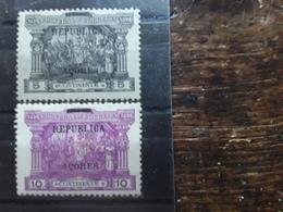 PORTUGAL ACORES 1911, TIMBRES Vasco De Gama Surchargés REPUBLICA, Yvert 147 & 148 Neufs * MH ,TB - Azores
