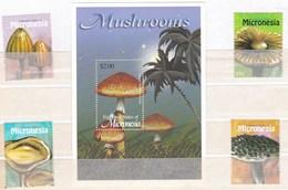 4 Valeurs Neuves ** Et 1 Feuillet ** De Micronésie Champignon - Champignons