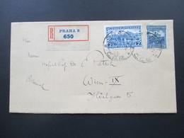 Tschechoslowakei Um 1926 MiF Nr. 253 Und 289 Einschreiben R Praha 8 650. R-Zettel Mit Bogenrand!! - Tschechoslowakei/CSSR