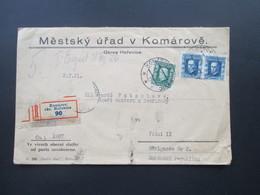 Tschechoslowakei 1926 Einschreiben Komarov Okr. Horovice 90. Mestsky Urad V Komarove. Okres Horovice - Tschechoslowakei/CSSR
