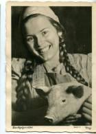 154389 GERMANY BELLE Girl W/ PIG Vintage Popp-Karte Postcard - Europe