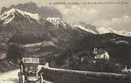 MENTHON  Le Chateau Les Dents De Lenfont Et La Route De Thones 1er Plan Belle Voiture Ancienne RV - France