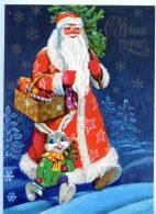 154444 Santa Claus DED MOROZ & Dressed RABBIT Old Russian PC - Dressed Animals