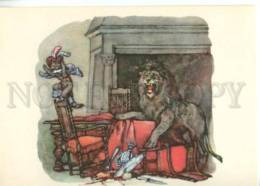153295 Perrault Puss In Boots & LION By DEKHTEREVA Old Rus PC - Other Illustrators