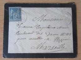 Enveloppe Avec Timbre Type Sage 15c Bleu Type II YT N°90 - 1877-1920: Semi Modern Period