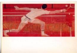 154661 TENNIS By SAVOSTYK & USPENSKY Old Postcard 1980 Year - Tennis
