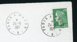 "FRANCE - CHEFFER 0,30 VERT N° Yt 1611 CACHET "" PARIS À MACON -B- "" DU 24/5/1971 - Postmark Collection (Covers)"