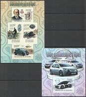 Y114 !!! IMPERFORATE 2012 BURUNDI CARS 150E ANNIVERSAIRE D'OPEL 1KB+1BL MNH - Cars