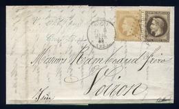 Belle Lettre De Crest Pour Voiron ( 1869  ) Avec Les N° 30 & 28 - 1863-1870 Napoleone III Con Gli Allori