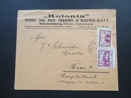 """Tschechoslowakei 1920 Hradschin MiF Nr. 1 Und Eilmarke Nr. 2. """"Kolonia"""" Int. Zeitungs, Annonzen Vertrieb Schmiedeberg - Briefe U. Dokumente"""