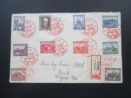 Tschechoslowakei 1928 Roter Sonderstempel 10 Jahre Republik. Satzbrief. Einschreiben Praha 1 - Tschechoslowakei/CSSR