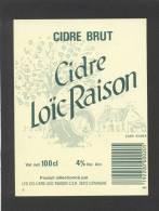 Etiquette De Cidre  Brut  -  Loïc Raison  à Domagné  (35) - Labels