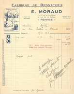 """35. Rennes. E. Moraud. Fabrique De Bonneterie. Marque Déposée """"Menhir"""" - 1936 - VR_SM_Ver12 - France"""