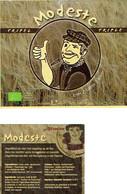 Étiquette Bière Modeste Triple Tripel 33 Cl, Alc 7,8% Vol (2018) Distributie Biofresh Gavere - Bière