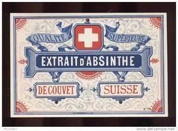 Etiquette D'Extrait  D'Absinthe Qualité Supérieure  - De Couvet  (Suisse) - Labels