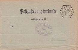 Postzustellungurkunde Obl MAENNOLSHEIM Du 19.2.21 Adressée à Wasselonne - Marcophilie (Lettres)