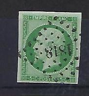 "FR YT 12 "" Napoléon III 5c. Vert "" 1854 PC 1818 LYON - 1853-1860 Napoleon III"