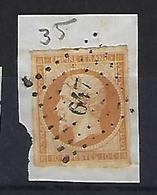"""FR YT 13A Sur Fragment """" Napoléon III 10c. Bistre """" 1853 PC 647 CASTRES-S-L'AGOUT - 1853-1860 Napoleon III"""