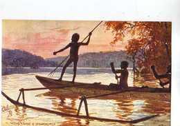 AUSTRALIA ,Raphael Tuck & Sons  Oilette, Native Canoe & Spearing Fish - Aborigènes