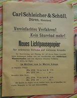 Papier Carl Schleicher Und Schüll, Düren Rheinland - Neues Lichtpaupepapier N°176 à 179 - 1894 - Stamperia & Cartoleria
