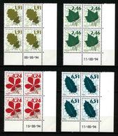FRANCE - YT PREO 232 à 235 ** - TIMBRES PREOBLITERES - 4 BLOCS DE 4 AVEC COIN DATE ** - 1989-....