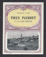 Etiquette De Vin 1 Er Cru Saint Emilion 40/50  -  Chateau Vieux Pouret  -  (33) - Bordeaux