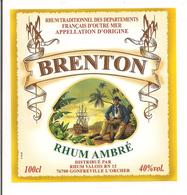 Etiquette  Rhum   Ambré Brenton - Traditionnel Des Départements Français D'outre-mer - Valois, Gonfreville - - Rhum