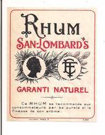 Etiquette  Rhum   San-Lombard's - Garanti Naturel - Imprimeur Jouneau - - Rhum