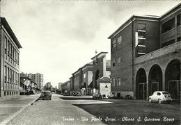 """771"""" TORINO - VIA PAOLO SARPI - CHIESA S. GIOVANNI BOSCO CON AUTO E MOTO """" CART ANIM NON SPED. - Churches"""