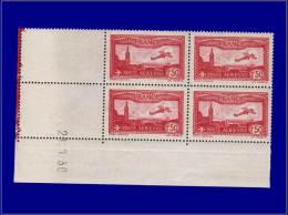 FRANCE Poste Aérienne Yvert:5, Bloc De 4, Cd 21/1/30: 1.50 Carmin      - Qualité: XX . Cote: 272 - Airmail