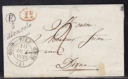 Basses Alpes,cursive 5/Valensole (indice 10) Avec Cad 11 Riaz (indice 10) Boite E Sur LSC De 1839 - 1801-1848: Précurseurs XIX