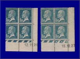 FRANCE Coins Datés Yvert:181, 2 Blocs De 4, Cd 15/10/27 & 12/11/26: 1.50 Pasteur      - Qualité: X . Cote: 150 - Dated Corners
