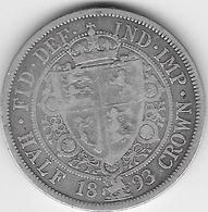 Grande Bretagne - Half Crown - 1893 - Argent - 1816-1901 : Frappes XIX° S.