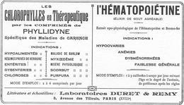 Buvard Ancien-produits Pharmaceutiques -LABORATOIRES DURET & REMY Paris PHYLLIDYNE - HEMATOPOEITINE - Produits Pharmaceutiques