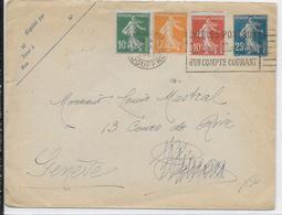 1922 - ENVELOPPE ENTIER SEMEUSE Avec JOLI AFFRANCHISSEMENT TRICOLORE COMPLEMENTAIRE De PARIS => GENEVE (SUISSE) - Postal Stamped Stationery