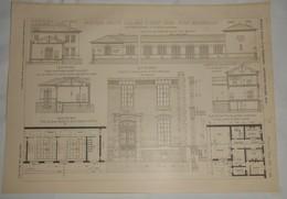 Plan Du Nouveau Groupe Scolaire à Saint Ouen. M.M. Maistrasse Et Berger, Architectes. 1903. - Public Works