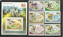 Foot Ball Soccer** MNH Munich 74 Haute Volta 329/31 + PA 180/82  + BF 5Y Coupe  Du Monde 1974 - Coppa Del Mondo