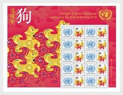 VN / UN - Postfris / MNH - Sheet Jaar Van De Hond 2018 - Gezamelijke Uitgaven New York/Genève/Wenen