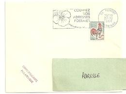 MORBIHAN - Dépt N° 56 = PONTIVY  1966 = FLAMME Codée =  SECAP Multiple ' PENSEZ + CODIFIEZ' = Pensée N° 1 - Code Postal