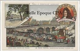 75 - PARIS - Série Des Ponts - Triomphe De Voltaire - 1791 / Pont Royal +++ Chocolat LOMBARD / 9x14cm +++ Parfait état - Puentes