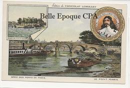 75 - PARIS - Série Des Ponts - Louis XIII / Le Pont Marie +++ Chocolat LOMBARD / 9x14cm +++ Parfait état - Bridges
