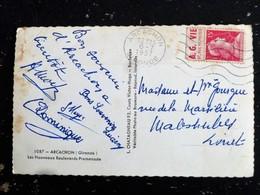 LETTRE FRANCE PUBLICITE A.G. VIE CARNET 1011-C1 -MARIANNE MULLER - FLAMME MUETTE ARCACHON GIRONDE - NOUVEAUX BOULEVARDS - Werbung