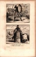 Angleterre - Guerrier Anglo-Saxon (en 750) - Femme Anglo-Saxonne (en 860) - Prints & Engravings