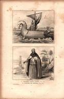 Angleterre - Vaisseau Anglo-Saxon (en 550) - Costume De Prêtre (en 650) - Prints & Engravings