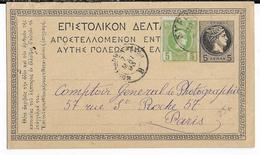 1893 - GRECE - CARTE ENTIER De SYRA => PARIS - 1886-1901 Small Hermes Heads