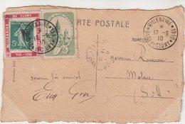 """FRANCE : CP . DU MILLENAIRE DE """" CLUNY """" . AVEC PORTE TIMBRE ET VIGNETTE . 1910 - Postmark Collection (Covers)"""