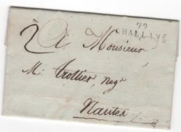 MP  79  CHALLANS Du 28 Thermidor An 11 ( 15.08.1803) ( Indice 10 = 60 € ) - Marcophilie (Lettres)