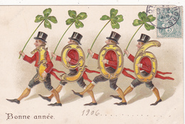 CPA Gaufrée Bonne Année 1906  Messieurs Chapeau Hat Trèfle Embossed Illustrateur - Nouvel An