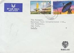 SOBRE ENVELOPE BY AIR MAIL. BARCLAYS. CIRCULEE KAFUE TO NEW YORK 1974. ZAMBIA.-BLEUP - Zambezia